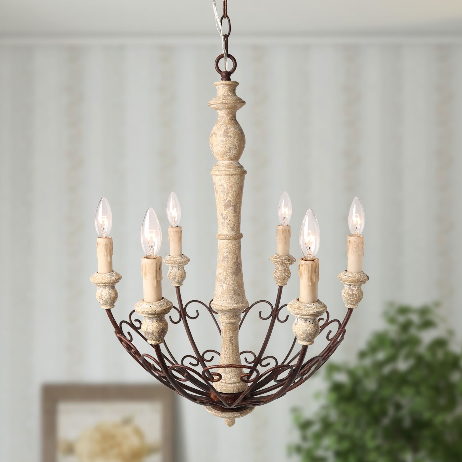 The Gray Barn Windy Bracken 6 Light Shabby Chic Country Chandelier Rustic Pendant