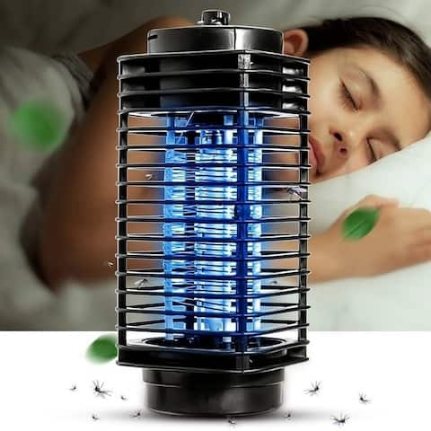 110V LED Electric Mosquito Fly Bug Insect Killer Lamp Mosquito Repellent Night Lamp Zapper US Plug - Black