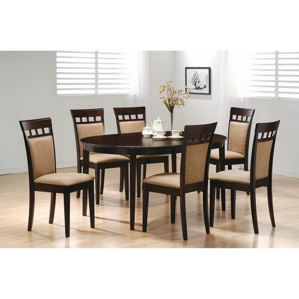 Missell Cappuccino 7-piece Oval Dining Set with Upholstered Back Chair