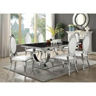 Sharli Creamy White and Chrome 7-piece Rectangle Dining Set
