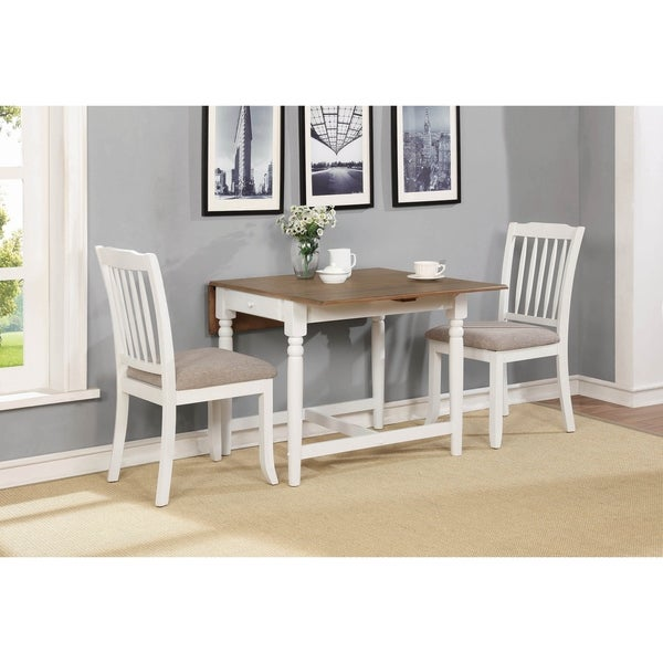 Yvette Pale Ale and White 3-piece Dining Set with Drop Leaf