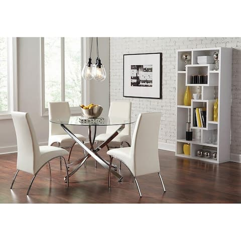 Silver Orchid Compson White and Chrome 5-piece Round Dining Set