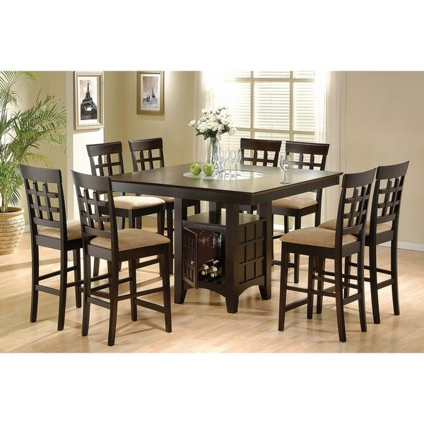 Missell Tan and Cappuccino 9-piece Counter Height Dining Set. Opens flyout.