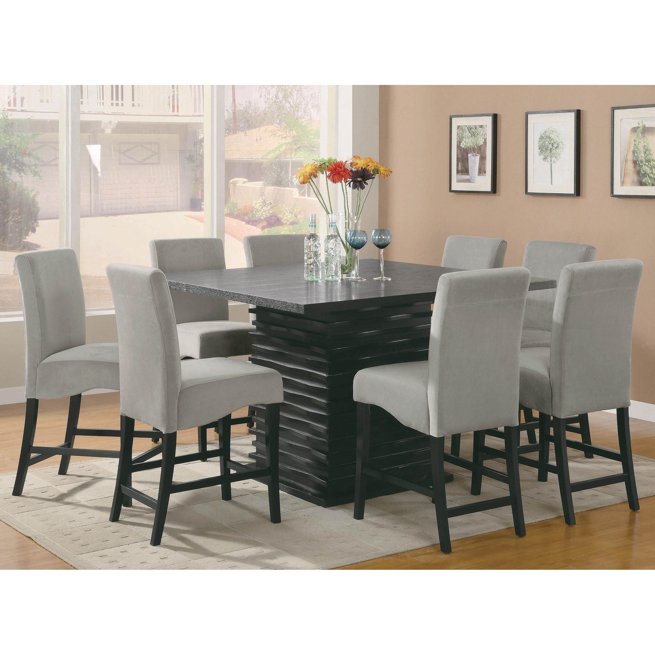 Shandra Dark Grey And Black 7 Piece Counter Height Dining Set Overstock 28527211