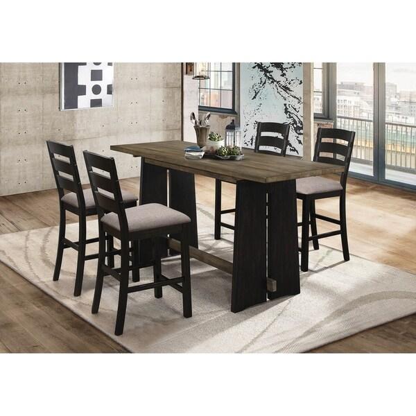 Carissa Khaki and Black 5-piece Counter Height Dining Set