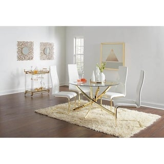 Orlette White and Brass 5-piece Round Dining Set
