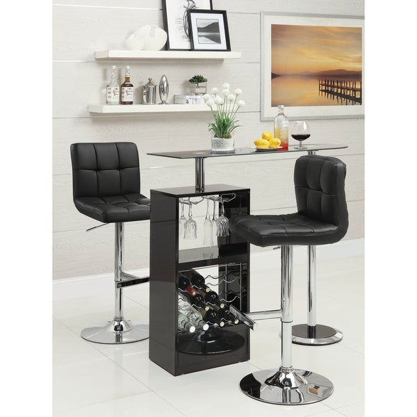 Willa Chrome and Glossy Black 3-piece Bar Set