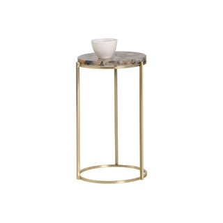 Sunpan 103075 Tillie Side Table - Brass - Natural Agate Stone