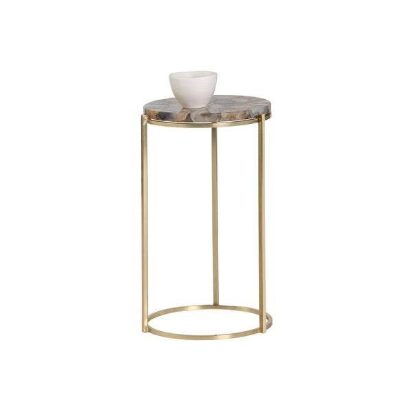 Sunpan 103075 Tillie Side Table - Brass - Natural Agate Stone. Opens flyout.
