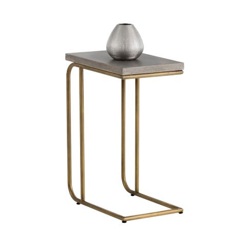 Sunpan 102167 Lucius C-Shaped End Table - Aged Brass