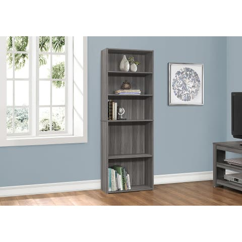 """Bookcase - 72""""H / Grey With 5 Shelves"""