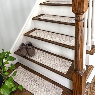 nuLOOM Solid Indoor/Outdoor Braided Stair Treads (Set of 13)