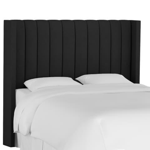 Copper Grove Wonken Twin Channel-seam Wingback Headboard with Linen Upholstery