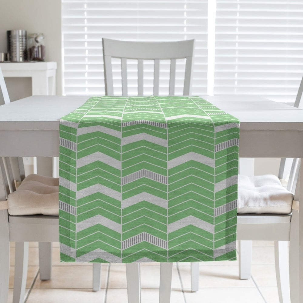 Shop Two Color Lined Chevrons Table Runner - Overstock - 28528103