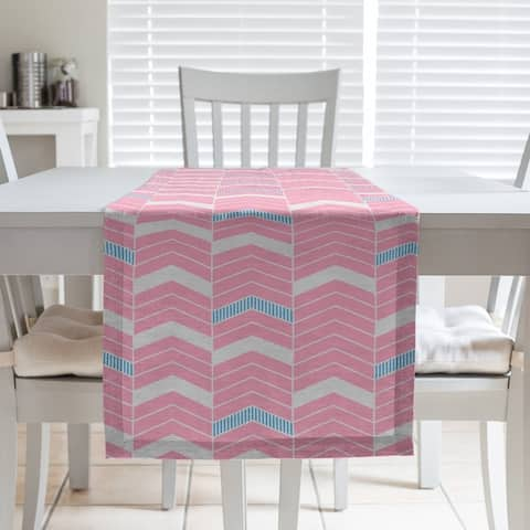 Two Color Lined Chevrons Table Runner