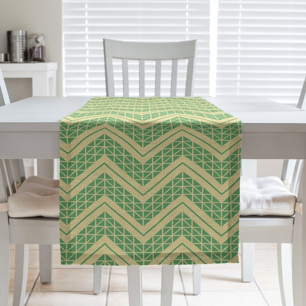 Shop Two Color Hand Drawn Chevrons Table Runner - Overstock - 28528111
