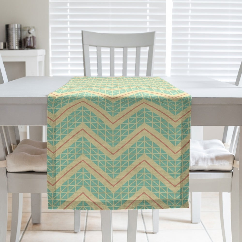 Shop Three Color Hand Drawn Chevrons Table Runner - Overstock - 28528116