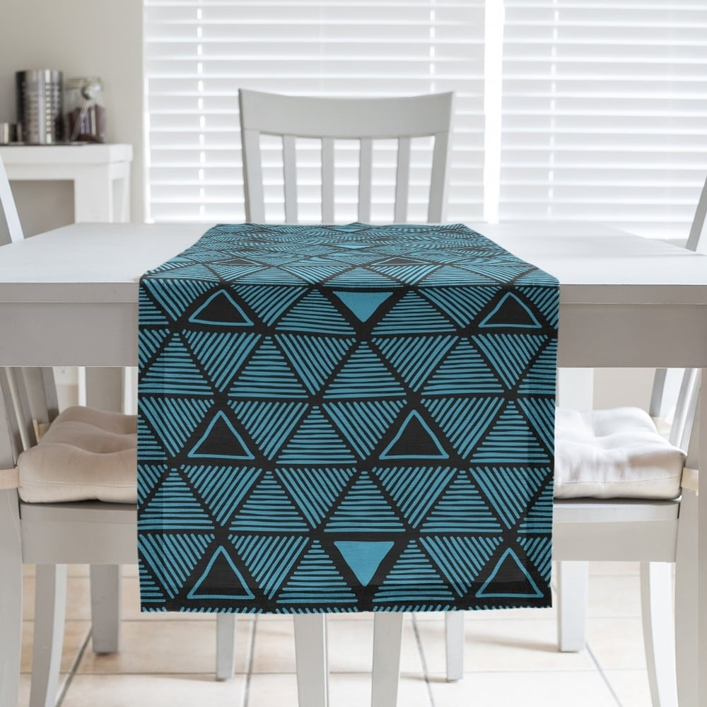 Shop Black & Color Hand Drawn Triangles Table Runner - Overstock - 28528150
