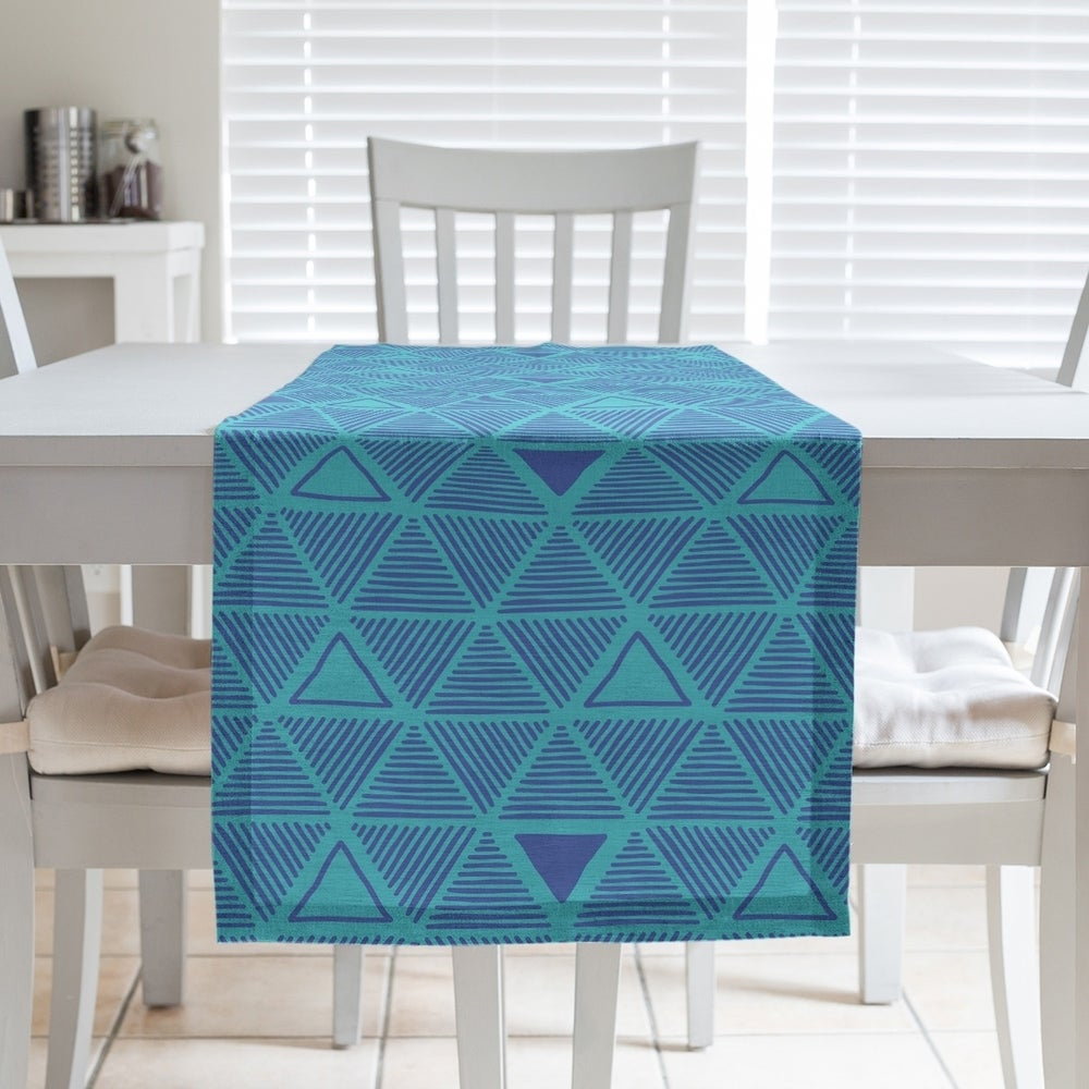 Shop Full Color Hand Drawn Triangles Table Runner - Overstock - 28528153