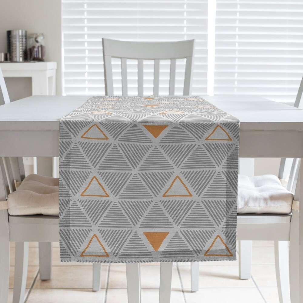 Shop Color Accent Hand Drawn Triangles Table Runner - Overstock - 28528157