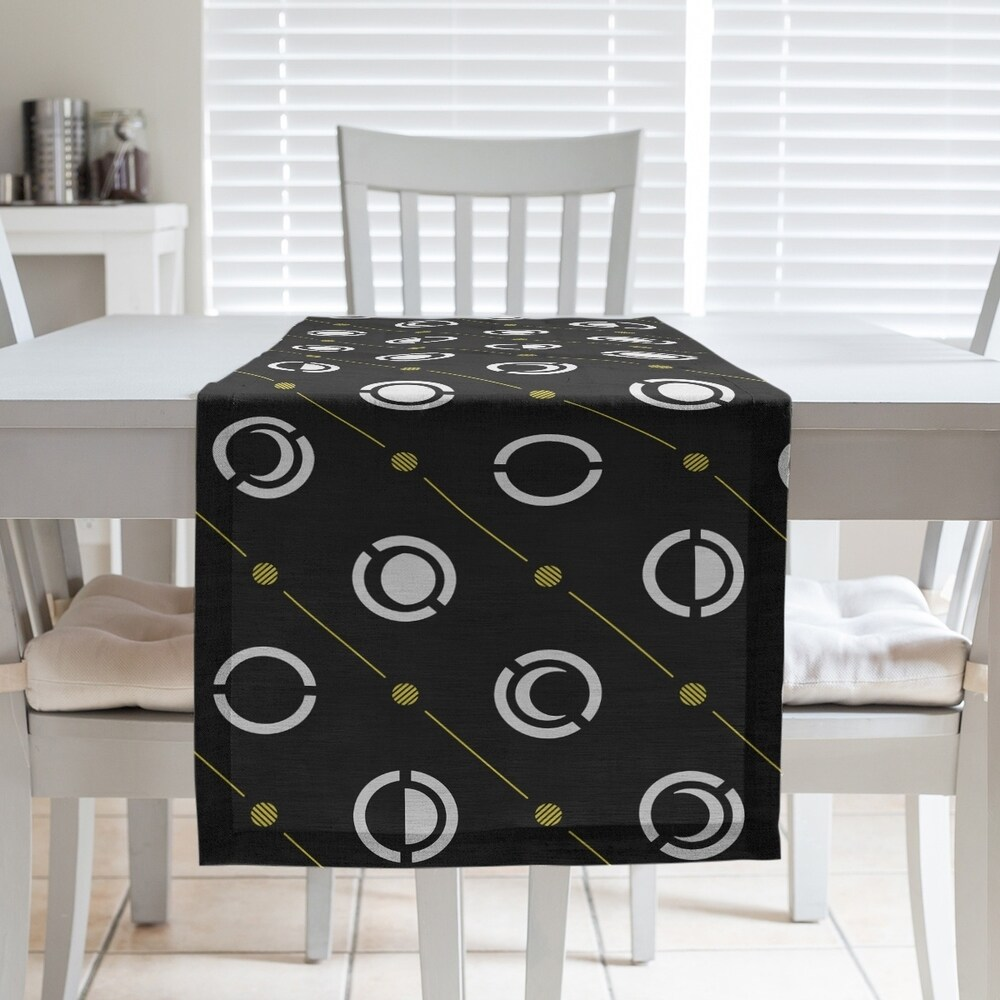 Shop Black Color Accent Moon Phases Table Runner - Overstock - 28528187