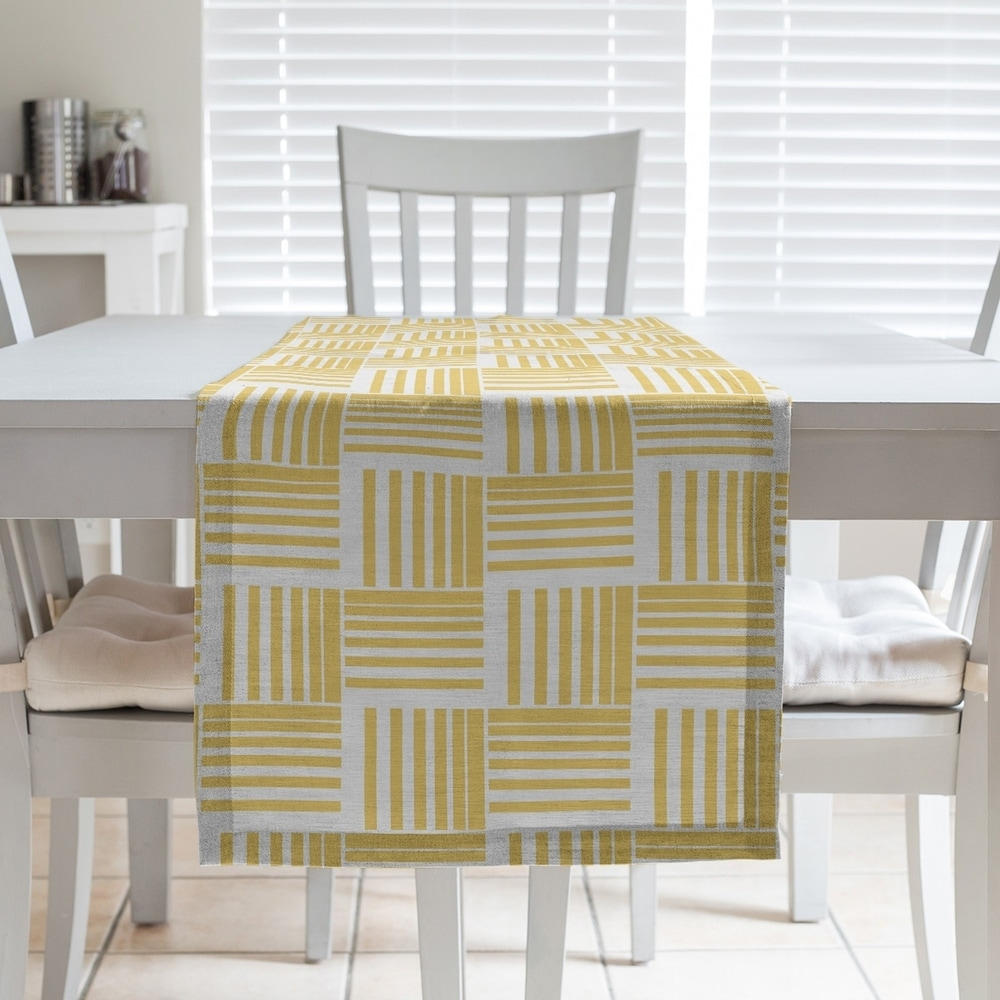 Shop Classic Basketweave Stripes Table Runner - Overstock - 28528210