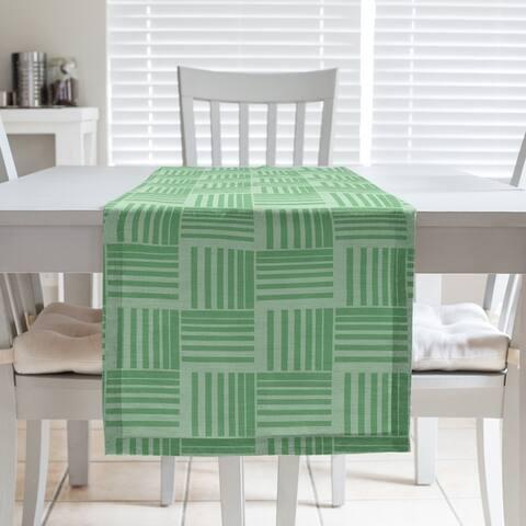 Monochrome Basketweave Stripes Table Runner