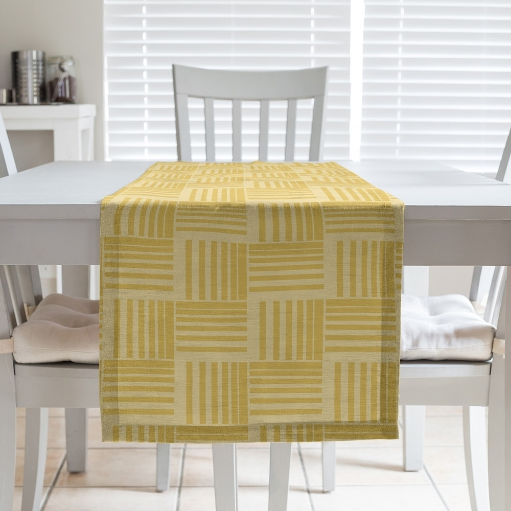 Shop Monochrome Basketweave Stripes Table Runner - Overstock - 28528212