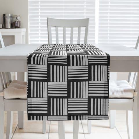 Black Contrast Basketweave Stripes Table Runner