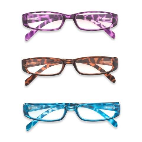 DII 3 Piece Ladies Printed Leopard Reading Glasses Set - Purple/Blue/Brown