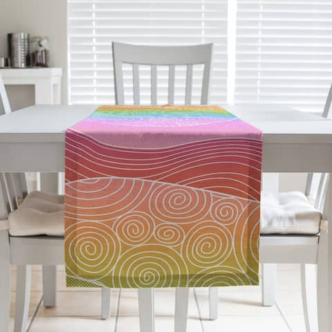 Ombre Hand Drawn Waves Table Runner