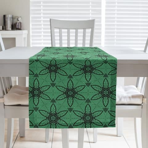 Color Background Ornate Circles Table Runner
