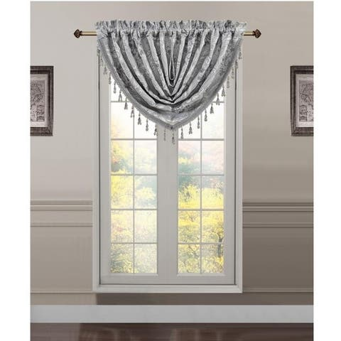 Gracewood Hollow Khandwala Jacquard Rod Pocket Window Waterfall Valance
