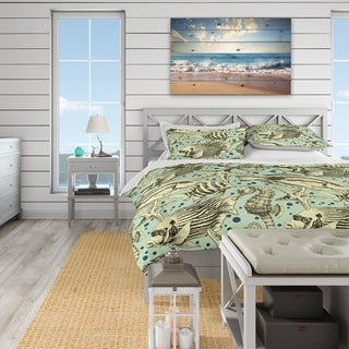 Link to Designart 'Deep sea lufe with fish and sea horse' Coastal Bedding Set Queen Size Duvet Cover & Shams (As Is Item) Similar Items in As Is