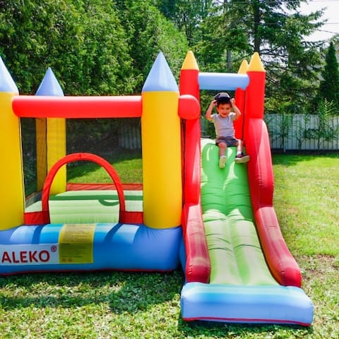 ALEKO Indoor/Outdoor Inflatable with Slide Bounce House Castle with Blower - Multi-color