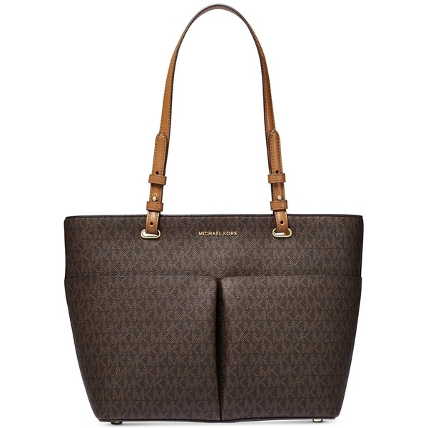 MICHAEL Michael Kors Bedford Signature Pocket Tote Brown/Acorn/Gold. Opens flyout.