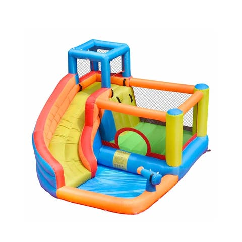 ALEKO Outdoor Inflatable Bounce House with Water Sprayer, Splash Pool,Blower