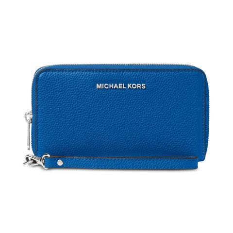 MICHAEL Michael Kors Mercer Leather Multi Function Phone Case Grecian Blue