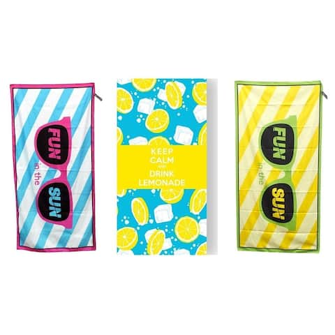 MinxNY BeachTech 3-Pack Compact Fun in The Sun Beach Towel