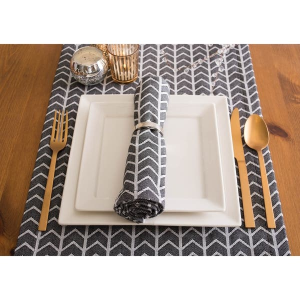 Dii Black White Table Runner