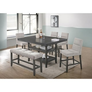 Best Quality Furniture 6-Piece Counter Height Dining Set with Counter Height Bench