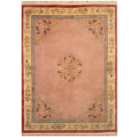 Handmade One-of-a-Kind Sino Aubusson Wool Rug - 9' x 12'
