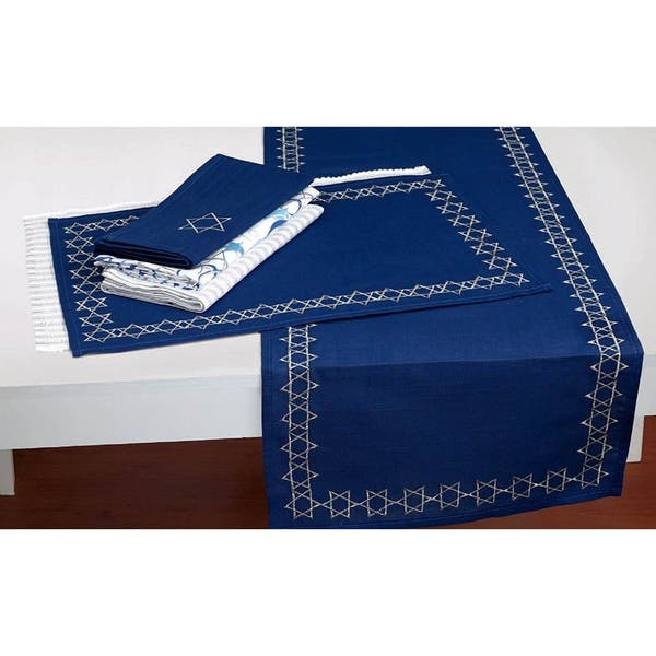 Dii Embroidered Star David Table Runner On Sale Overstock 28529617