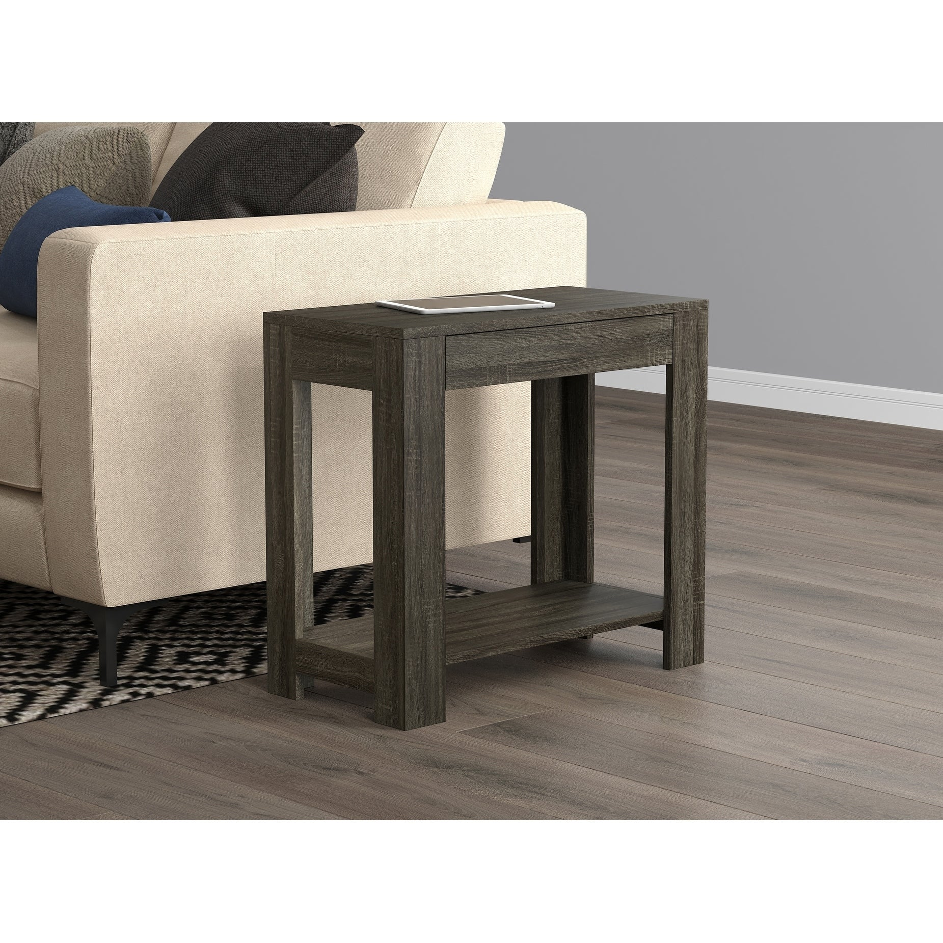 Picture of: Shop Accent Table Grey With Drawer On Sale Free Shipping Today Overstock 28529639