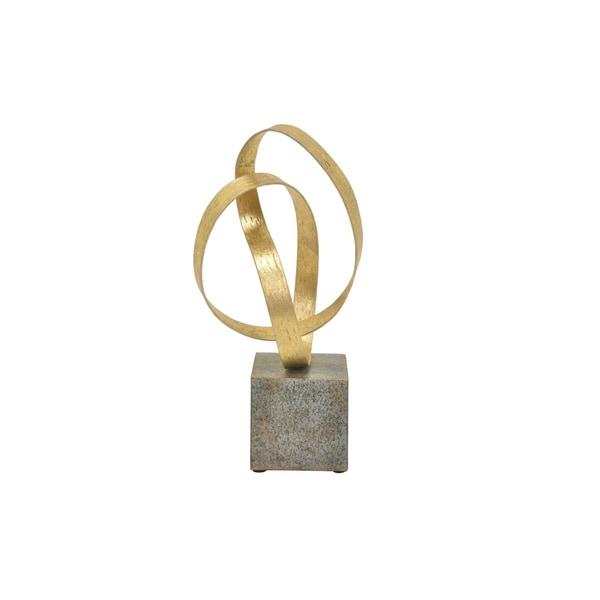 "14 "" Metal Sculpture in Gold - 6.5 x 7 x 14"