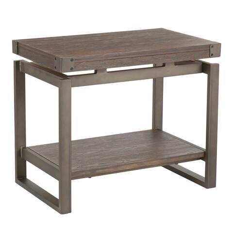 Carbon Loft Uzo Industrial Metal & Wood End Table - N/A