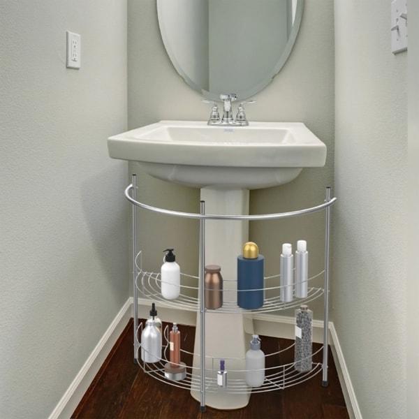 . Shop Pedestal Sink Organizer   Compact Under the Sink Rack with 2