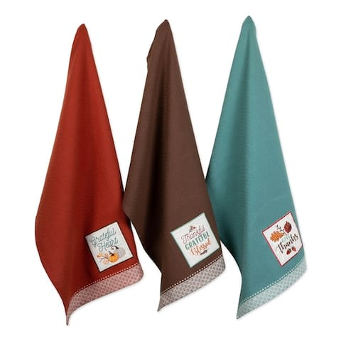 DII Assorted Fall Embroidered Dishtowel (Set of 3)