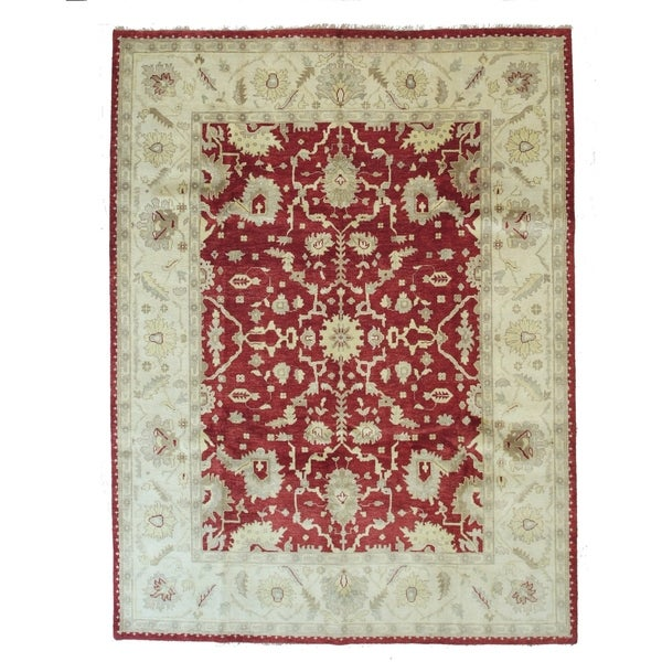 Hand-knotted Wool Red Traditional Oriental Oushak Rug