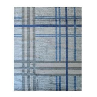 Blue Contemporary Geometric Porya Rug